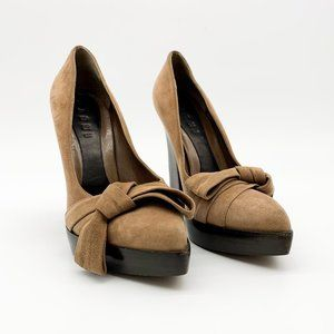 MARNI Suede Pointed Bow Toe Heels Tan